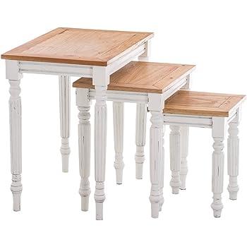 Relaxdays Tables gigognes d'appoint lot de 3 en bambou 50