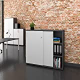 Uni Aktenschrank 1,2M abschließbar 3OH Weiß-Anthrazit Büroschrank Schiebetürenschrank