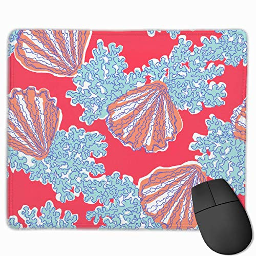 ASKSSD Mouse Pad Cute Corals and Scallops Rectangle Rubber Mousepad 11.81 X 9.84 Inch Gaming Mouse Pad with Black Lock Edge Scallop Edge Top
