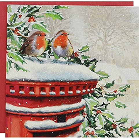 Glitter Robin and Postbox Premium Christmas Cards - Pack Of 10