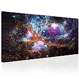 Topquadro XXL Wandbild, Leinwandbild 100x50cm, Weltall, Ansammlung von Sternen und Planeten - Universum All - Panoramabild Keilrahmenbild, Bild auf Leinwand - Einteilig, Fertig zum Aufhängen