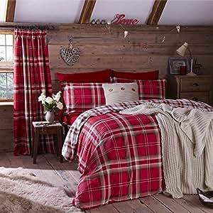 Kelso riche en coton tartan set housse de couette rouge king cuisine maison - Housse de couette tartan ...