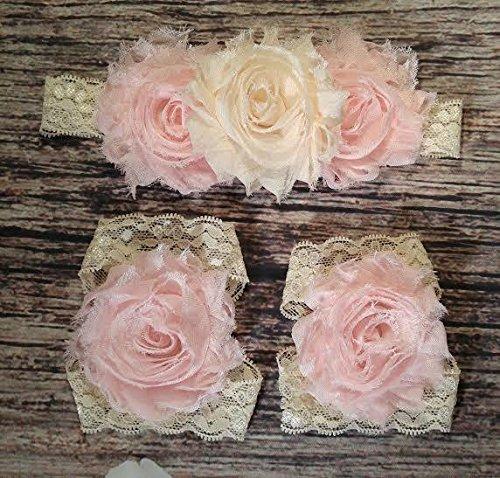 beautiful-vintage-cream-and-light-pink-lace-headband-and-barefoot-sandal-set