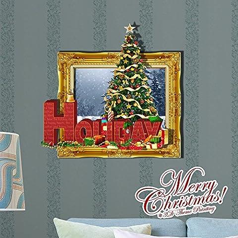 Cartoon dekorative Malerei Schlafzimmer Wohnzimmer Fernseher Sofa Hintergrund HD-Dimensionalen 3D Wall Sticker Wallpaper (Weihnachten), 60 x 58 (Hd Weihnachten Wallpaper)