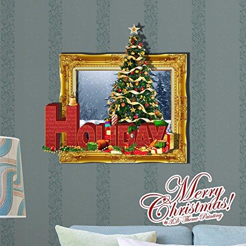 Weihnachts-Dekoration für Halloween Weihnachten//3D/creative Wand dreidimensionale Malerei/Wohnzimmer/Schlafzimmer/Kinderzimmer/modern/Cartoon/Animation/dekorative Malerei (58 * 60,1 cm)