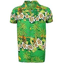 Camisa hawaiana para hombre, estampada, para la playa, fiestas de verano y vacaciones, tallas desde S hasta XXL multicolor verde Talla única