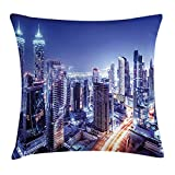 City Throw Pillow Cushion Cover, Dubai Downtown UAE Night Scenery Modern High Rise Buildings Travel Destination, Decorative Square Accent Pillow Case, 18 X 18 Inches, Violet Blue Orange