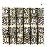 Ruiyele Lot de 24 perles de style Viking avec inscription runes, Alliage de zinc, Ancient Cyan