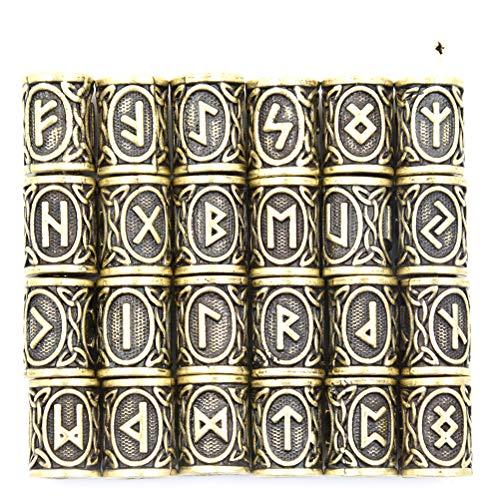 24PCS Antik Perlen Viking nordischen Runen Haar Bart Beads Silber Armband Jewelry skandinavischen Anhänger Paracord für das Handwerk DIY handmaking, #2 (Skandinavische Handwerk)