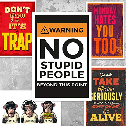 R Social Funny Positive Poster Collection for Room Wall, Office Wall, Door Wall (Paper, 12 x 18 inch, Multicolour) -Set of 6