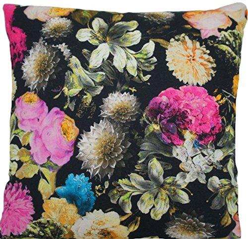 40,6 cm Noir Floral Hortensia Housse de coussin Multicolore Rose Blanc Fleurs Motif imprimé B