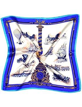Bees Knees Fashion - Bufanda - Pañuelo Cuadrado De Seda Gruesa Y Estampado Azul Claro Con Estampado De Transporte...