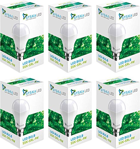 Syska LED Lights 9w B22 LED Bulb( Pack of 6, White Cool Day light)