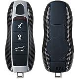 kwmobile autosleutelhoes compatibel met Porsche 3-knops autosleutel (alleen Keyless) - hardcover beschermhoes - Carbon - zwar