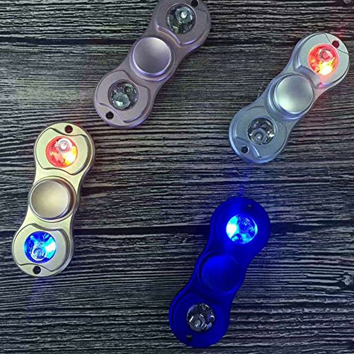 VANKER LED Light ADHD Anxiety Autism Stress Reducer Fidget Hand Spinner EDC Focus Toy (Blue) -