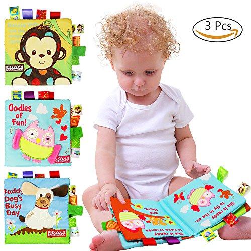 Spa Softcover (3 Pack Baby Tuch Bücher weichen Stoff Tuch Buch Kleinkind frühe Bildung Crinkle Tuch Buch)