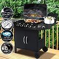 Broil-master Gasgrill BBQ GRILLWAGEN stahl-Brenner 5 Hauptbrenner + 1 Seitenbrenner in Farbe: schwarz