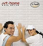 arthome weiß Brick 3D Wand Paneele schälen und Stick Tapete für Wohnzimmer Schlafzimmer Hintergrund Wand Home Dekoration, weiß, 5 Stück