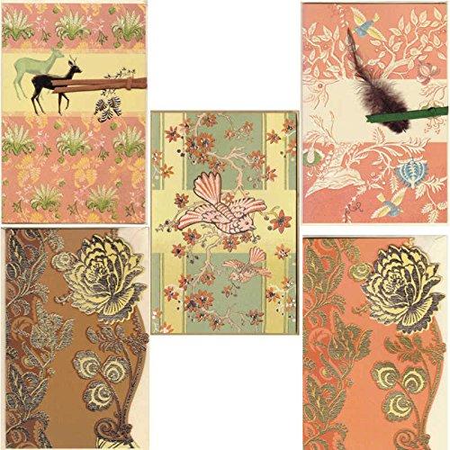 5 Edle Grußkarten, Blumen, Reh, Feder und Vogel, reduziert! - Susy Card
