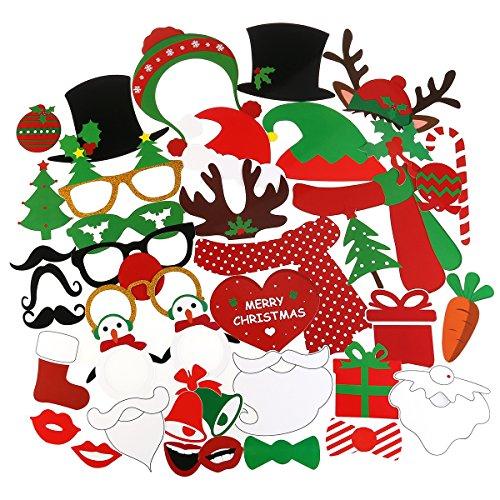 Tinksky 38PCS Weihnachten Photo Booth Requisiten Kit für Partybedarf, mit Brille Schnurrbart rote Lippen Hirsch Horn Weihnachtsmütze -