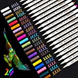 Sinicyder Pennarelli Metallici, 20 Pennarelli Metallici Premium di Colore per Album di Foto DIY, Libro degli Ospiti, Carta per Matrimoni, Disegno, Pietra di Plastica di Vetro - Punta Fine (1MM)