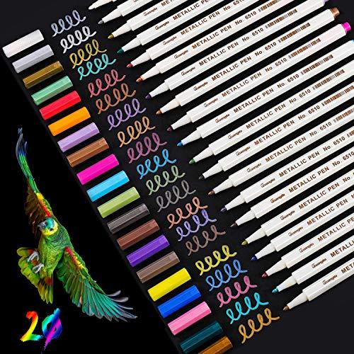 Metallic Marker Stifte Set, 20 Farben Premium Metallischen Stift Pens für Kartenherstellung DIY Fotoalbum, Gästebuch, Hochzeit Papier, Zeichnen, Glas Kunststoff Stein - Feiner Spitze (1MM)