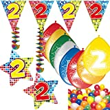 Carpeta 54-Teiliges Partydeko Set * Zahl 2 * für Kindergeburtstag Oder 2. Geburtstag mit Girlande, Rotorspiralen, Luftschlangen und Vielen Luftballons