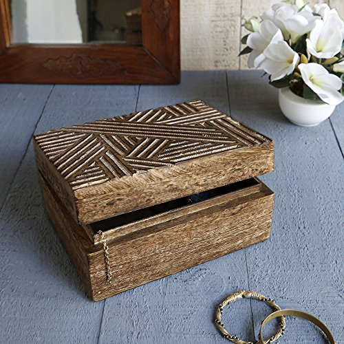 Store Indya, Handmade Mangowood decorativo Gioielleria bagagli Trinket Keepsake multiuso Box Con Rustic Crosshatch Sculture (Medium)