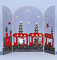 Premier Decorations Decorative 63cm Christmas Fireguard Metal 3 Panel Fireplace Screen Fire Cover