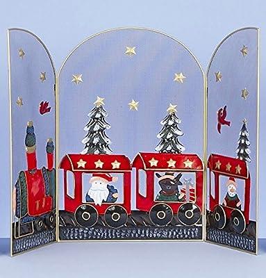 Premier Decorations Decorative 63cm Christmas Fireguard Metal 3 Panel Fireplace Screen Fire Cover