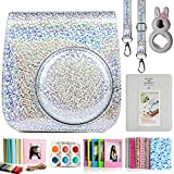 CAIUL Compatible 7 in 1 Instax Mini 9 8 8+ Cámara Accesorios Set con Funda, Album de Fotos, Close Up Lente, Marco y Otros Accesorios (Cristal Destello Plata)