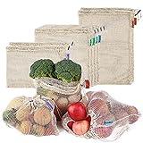 esonmus Obst Gemüsebeutel 12Stück Wiederverwendbare Obst Und Gemüsenetz Baumwolle Den Plastikfrei Waschbar Brotbeutel Weiß