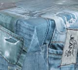 WACHSTUCH TISCHDECKE abwischbar Meterware, Größe wählbar, 140x140 cm, Glatt Blue Jeans