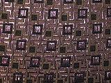Meterware Brokatstoff mit geometrischen Quadraten,