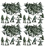 MEGA VALUE 100 x Traditional Green Army Men Combat Force Toy Plastic Soldiers Classic Kids Toy War Games - My Planet - amazon.co.uk