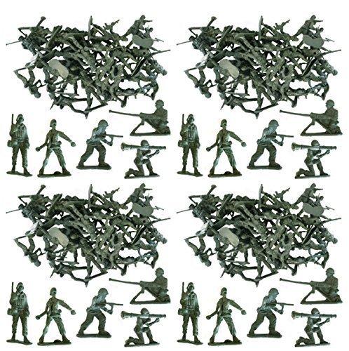 MEGA WERT 100 x Traditionell Grün Armee Men Schlacht Force Spielzeug Plastik Soldaten Klassisch Kinder Spielzeug Krieg Spiele (Militär Figuren)