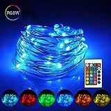 LED kupferdraht Lichterkette 5M Wasserdicht ip65 RGB Strip Weihnachtsbeleuchtung,16 Farben, Deko Beleuchtung 50 LEDs,Memory-Funktion für Innen,Außen Weihnachten/Hochzeit / Party/Weihnachtsbaum.