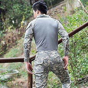 H monde UE chasse tactique militaire T-shirt à manches longues avec coude Pads