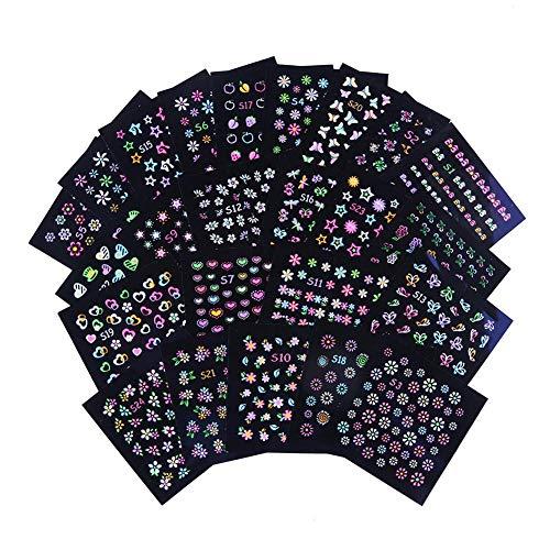 Nagelsticker, 24 PCS Nail Art Nail Sticker Nail Sticker Set Kunst Aufkleber Maniküre Deko, Luminous Fluoreszierende Farben Nail Sticker Butterfly Star Flower Cartoon Dekoration Sticker -