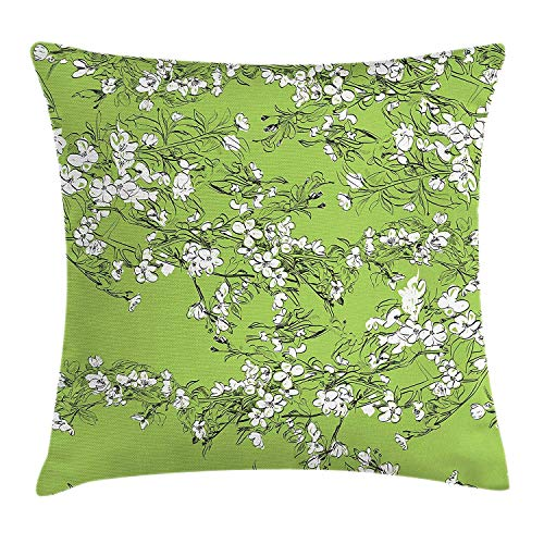 Cherry-gewebe-sofa (Dekokissen KissenbezugHand gezeichneter Cherry Blossom Pattern Japanese Sakura Flower Branches Pillow Cushion Cover Pillowcase,45x45 cm)