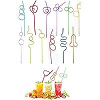 10 Pièces Pailles en Plastique Bouclées, Pailles en Forme Bouclée, Bouclés Paille Boire en Plastique, Couleurs…