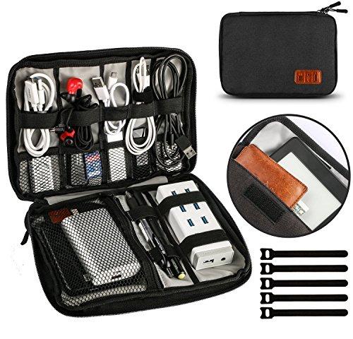 Kabel Organizer Tasche Elektronik Kabeltasche Zubeh?r Reisetasche Kabel Aufbewahrung Klein Travel 9,4 x 6,6 Zoll für , USB Power Banks Festplatte,stifte mit 5 Kabelbindern, Schwarz - UNEEDE