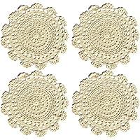 """Ambielly rotonda Handmade Crochet del cotone del merletto Tabella Tovagliette centrini, Value Pack / 4 pezzi, (25 centimetri / 9.8 """", beige)"""