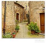 Wallario Herdabdeckplatte/Spritzschutz aus Glas, 1-teilig, 60x52cm, für Ceran- und Induktionsherde, Weg durch die Altstadt - Toskana in Italien