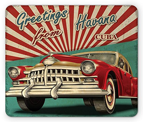 Havana Mouse Pad, Vintage Design of Brand New Classic Retro Car and Half Beam, Pale Sea and Ruby