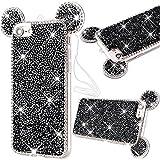 Cover Silicone Bling per iPhone 7 (4.7'), GrandEver UltraSlim TPU Morbido Trasparente Custodia Strass Diamante 3D Diamante Protettiva Soft Case con Orecchie di Cristallo Orso - Nero