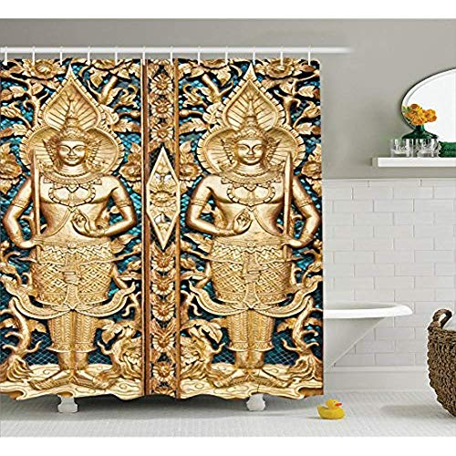 Yeuss Rustic Decor Collection,Thailändisches Tor im Wat Sirisa Tong Thailand Buddhismus Architektur Geschichte Spirituelles Bild,Polyester Fabric Shower Curtain