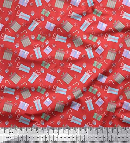 Soimoi Orange Samt Stoff Süßigkeiten-Stick, Geschenk-Box & oranament Weihnachten Stoff Meterware 58 Zoll breit (Süßigkeiten Orange-sticks,)