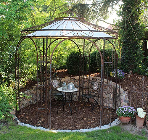 ELEO Milano runder Rosenpavillon mit Sonnensegel und Messingkugel, Ø 2,9 m (Oberfläche: roh /...