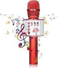 Bluetooth microfono Karaoke, nasum senza fili 4.1 Speaker della macchina per voce e canto registrazione, per adulti e bambini compatibile con Android/iOS, PC o all smartphone (ROSSO)